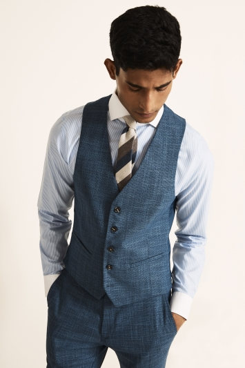 Moss 1851 Slim Fit Blue Texture Waistcoat