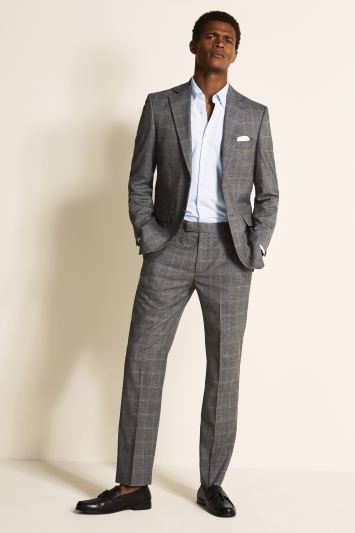 Regular Fit Grey Windowpane Jacket