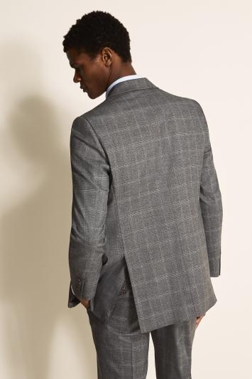 Moss 1851 Regular Fit Light Grey Windowpane Jacket