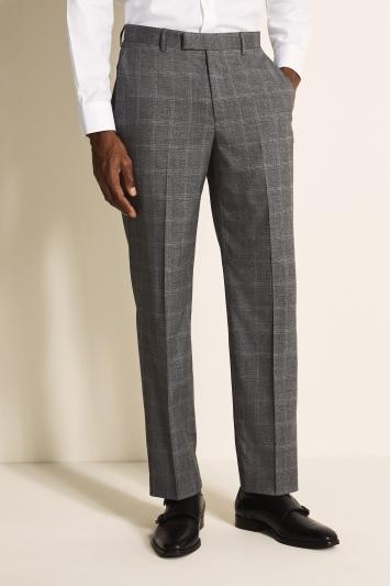 Regular Fit Grey Windowpane Trousers