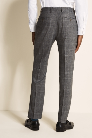 Moss 1851 Regular Fit Light Grey Windowpane Trouser