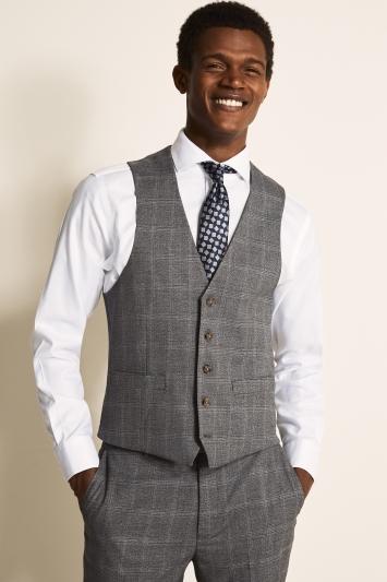 Regular Fit Grey Windowpane Waistcoat