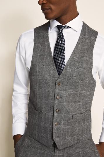 Moss 1851 Regular Fit Light Grey Windowpane Waistcoat