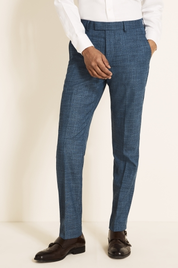 Moss 1851 Tailored Fit Blue Texture Trouser