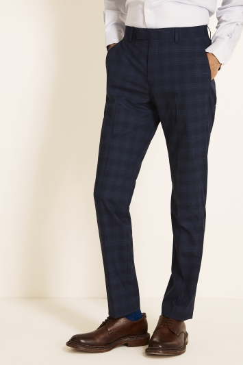 Moss 1851 Tailored Fit Blue Grid Check Trouser