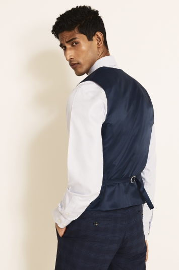 Moss 1851 Tailored Fit Blue Grid Check Waistcoat