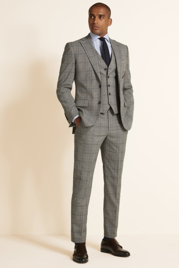 Tailored Fit Grey Navy Check Jacket