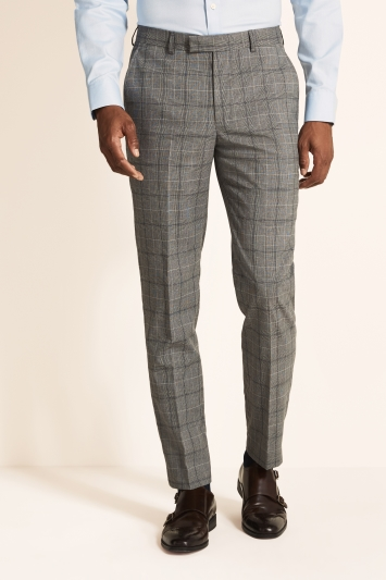 Tailored Fit Grey Navy Check Trousers