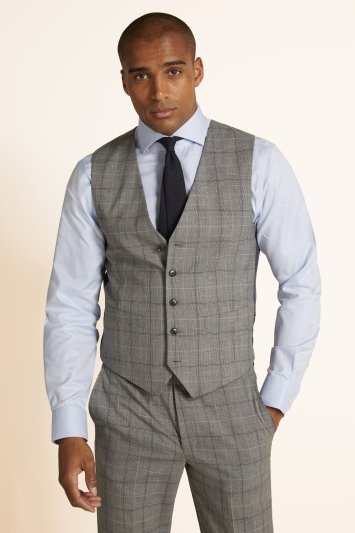Tailored Fit Grey Navy Check Waistcoat