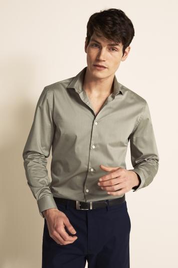 Moss London Slim Fit Sage Green Single Cuff Stretch Shirt