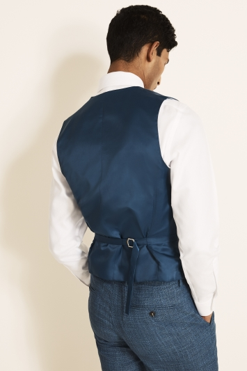 Moss 1851 Tailored Fit Blue Texture Waistcoat