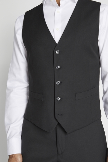 Moss 1851 Tailored Fit Black Stretch Waistcoat