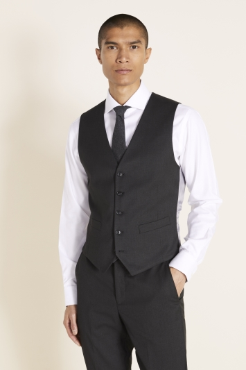 Moss 1851 Tailored Fit Charcoal Stretch Waistcoat