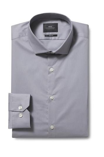 Slim Fit Grey Stretch Shirt