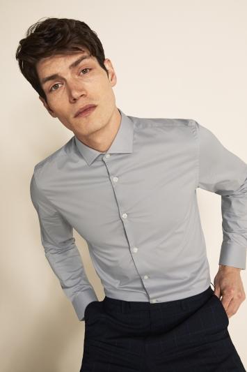 Moss London Slim Fit Grey Single Cuff Stretch Shirt