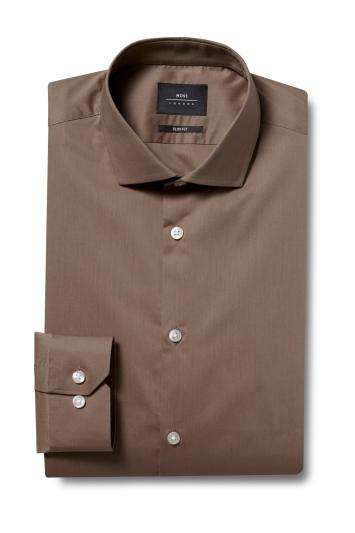 Moss London Slim Fit Mink Single Cuff Stretch Shirt
