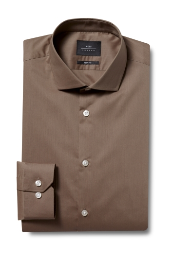 Moss London Slim Fit Mink Single Cuff Stretch Shirt