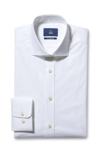 Moss 1851 Tailored Fit White Single Cuff Stretch Shirt