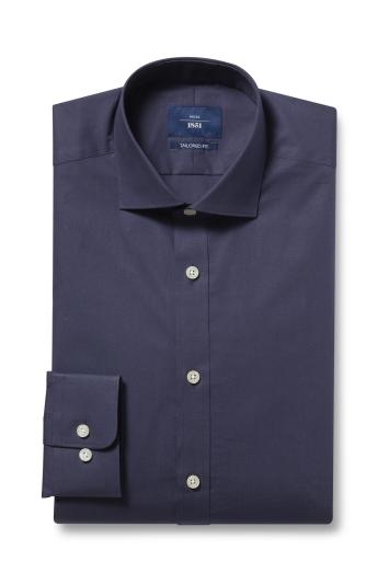 Moss 1851 Tailored Fit Navy Single Cuff Stretch Shirt