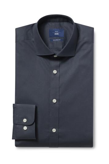 Moss 1851 Tailored Fit Black Single Cuff Stretch Shirt