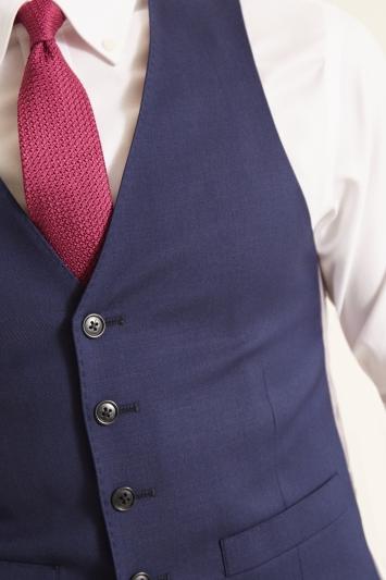 Moss 1851 Slim Fit Navy Twill Waistcoat