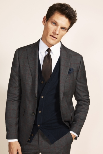 Moss 1851 Slim Fit Grey with Red Windowpane Supreme Stretch Jacket