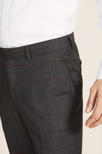 Moss 1851 Slim Fit Grey with Red Windowpane Supreme Stretch Trousers