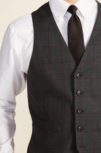 Moss 1851 Slim Fit Grey with Red Windowpane Supreme Stretch Waistcoat