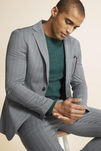Moss 1851 Slim Fit Grey with White Stripe Supreme Stretch Jacket