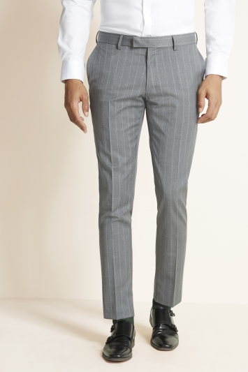 Moss 1851 Slim Fit Grey with White Stripe Supreme Stretch Jacket