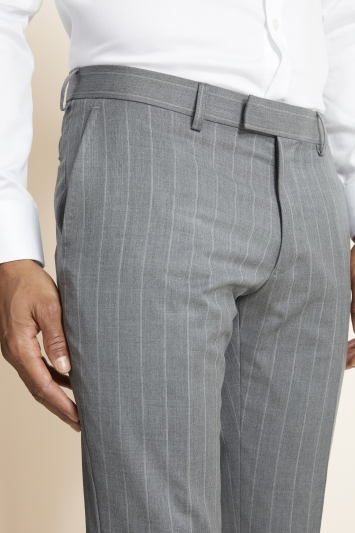 Moss 1851 Slim Fit Grey with White Stripe Supreme Stretch Trousers