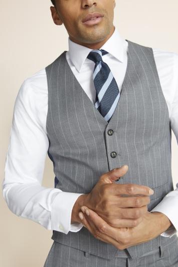 Moss 1851 Slim Fit Grey with White Stripe Supreme Stretch Waistcoat