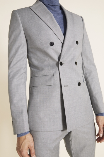 Moss London Slim Fit Grey Stretch Double Breasted Jacket