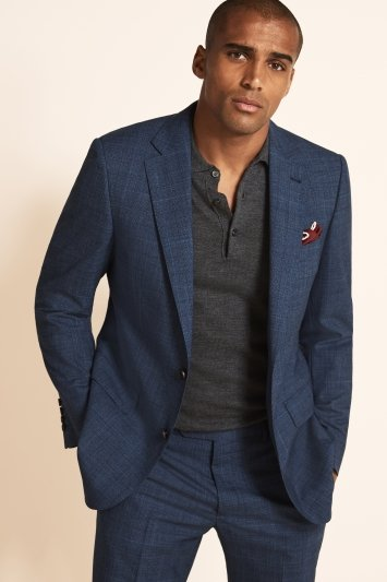 Tailored Fit Blue Check Jacket