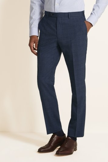 Tailored Fit Blue Check Trousers