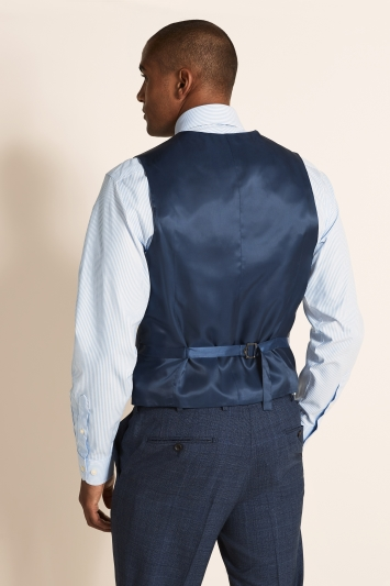 Tailored Fit Blue Check Waistcoat