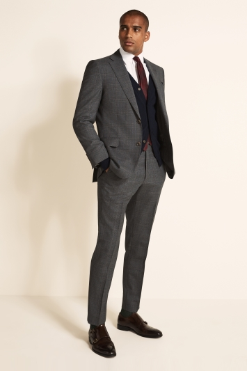 Tailored Fit Grey Red Check Jacket