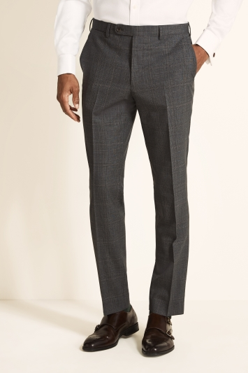 Ermenegildo Zegna Cloth Tailored Fit Grey with Red Check Trousers