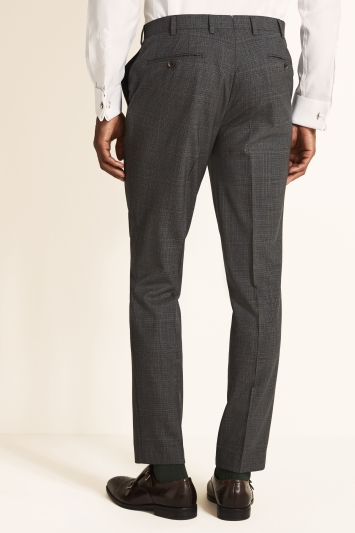 Tailored Fit Grey Red Check Trousers