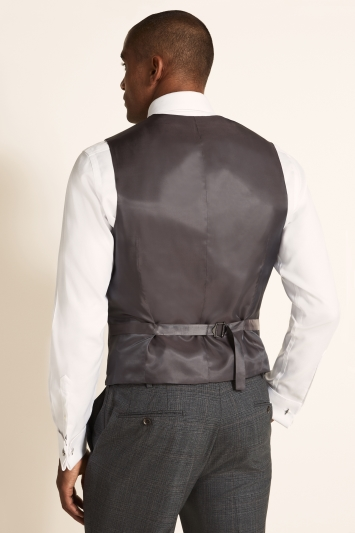 Tailored Fit Grey Red Check Waistcoat