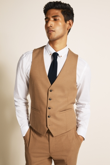 Moss London Slim Fit Camel Waistcoat