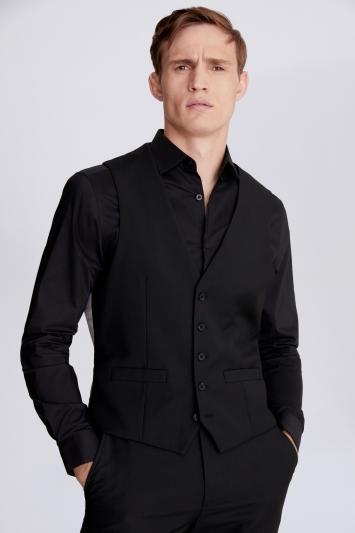 Moss 1851 Regular Fit Black Stretch Waistcoat