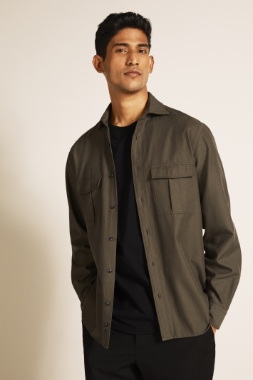 Moss 1851 Khaki Twill Single Cuff Overshirt