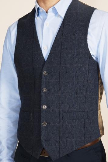 Moss 1851 Tailored Fit Blue Herringbone Check Waistcoat