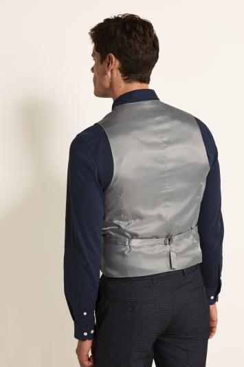 Moss 1851 Tailored Fit Grey Multi Check Waistcoat