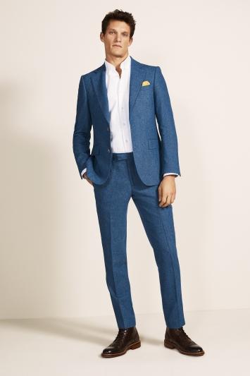 Moss 1851 Tailored Fit Blue Herringbone Tweed Jacket