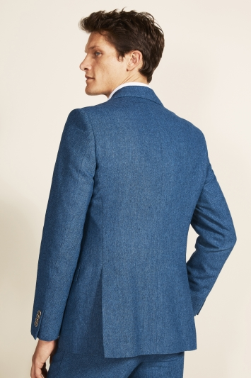 Moss 1851 Tailored Fit Blue Herringbone Tweed Jacket