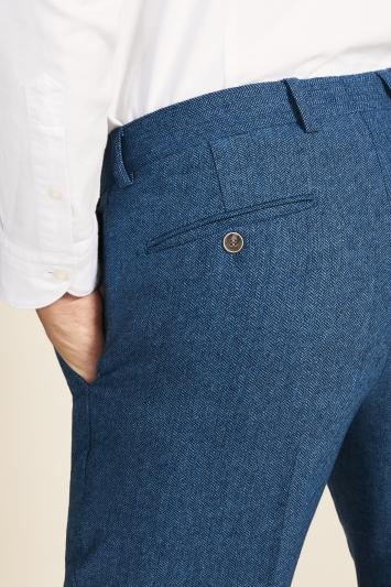 Moss 1851 Tailored Fit Blue Herringbone Trouser
