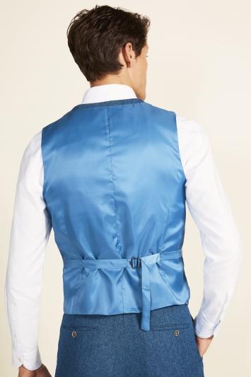 Moss 1851 Tailored Fit Blue Herringbone Waistcoat