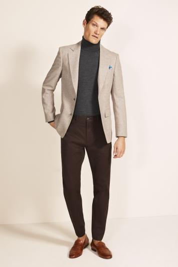 Moss 1851 Tailored Fit Oatmeal Herringbone Tweed Jacket
